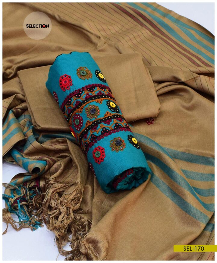 Sindhi Embroidery 3 PCs Unstitched Light Weight Marina Suit - SEL170