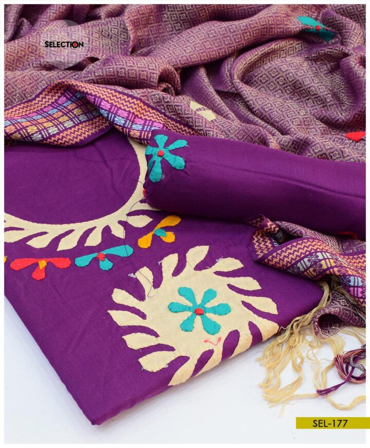 3 PCs Hand Embroidered Applique Work Staple Marina Suit with Wool Shawl - SEL177