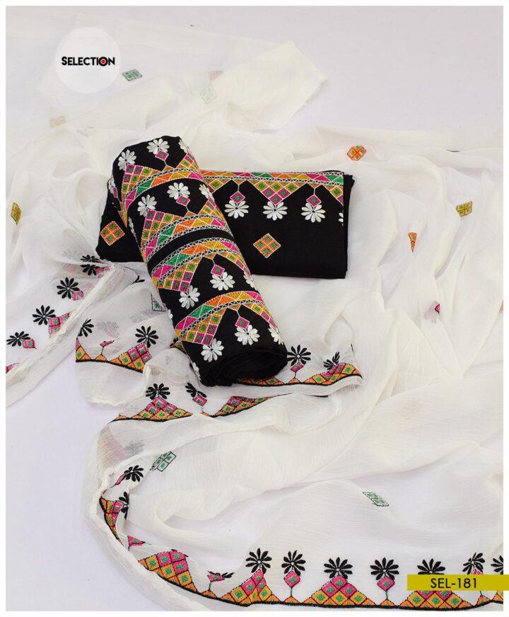 3 PCs Linen Aari Work Suit With Chiffon Dupatta -SEL181