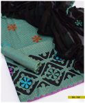 3 PCs Hand Embroidered Applique Work Cotton Khaddar Suit with Chiffon Dupatta - SEL182