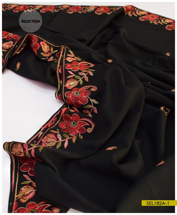 Wool Parda Size Embroidered Shawl for Women - SEL182A