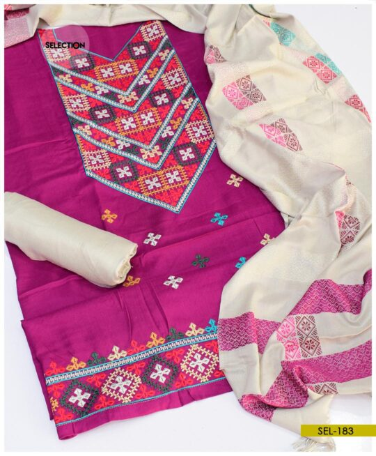 Light Weight Marina Embroidered Suit With Wool Shawl -SEL183