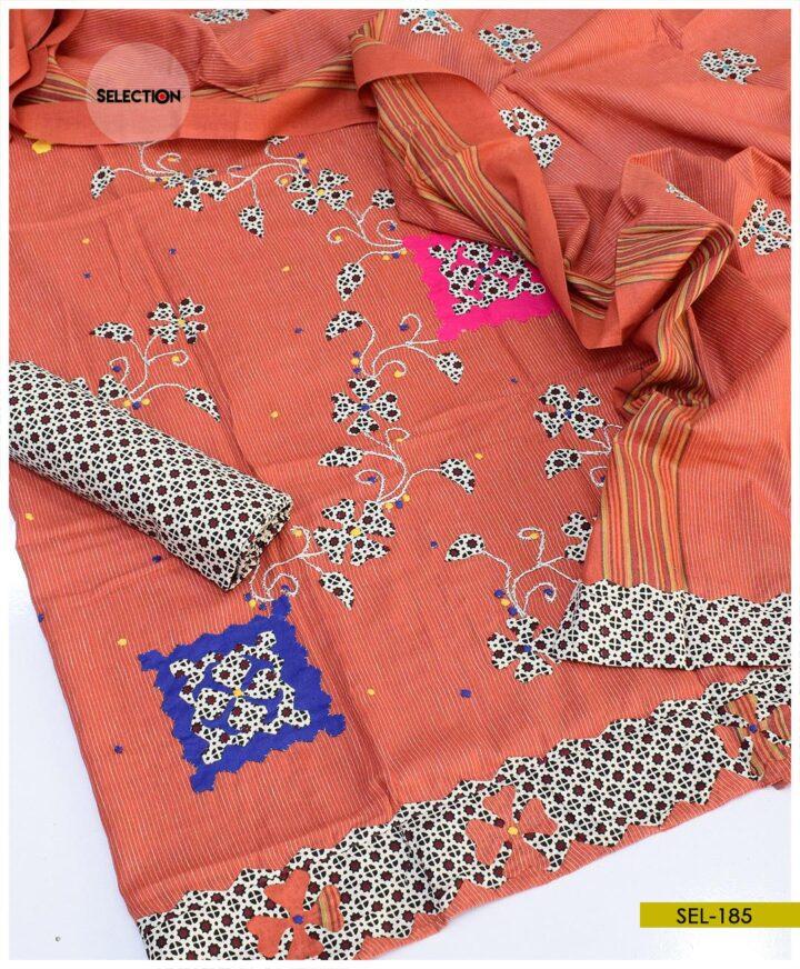 Khadi Cotton Handmade Applique Work 3 PCs Suit -SEL185