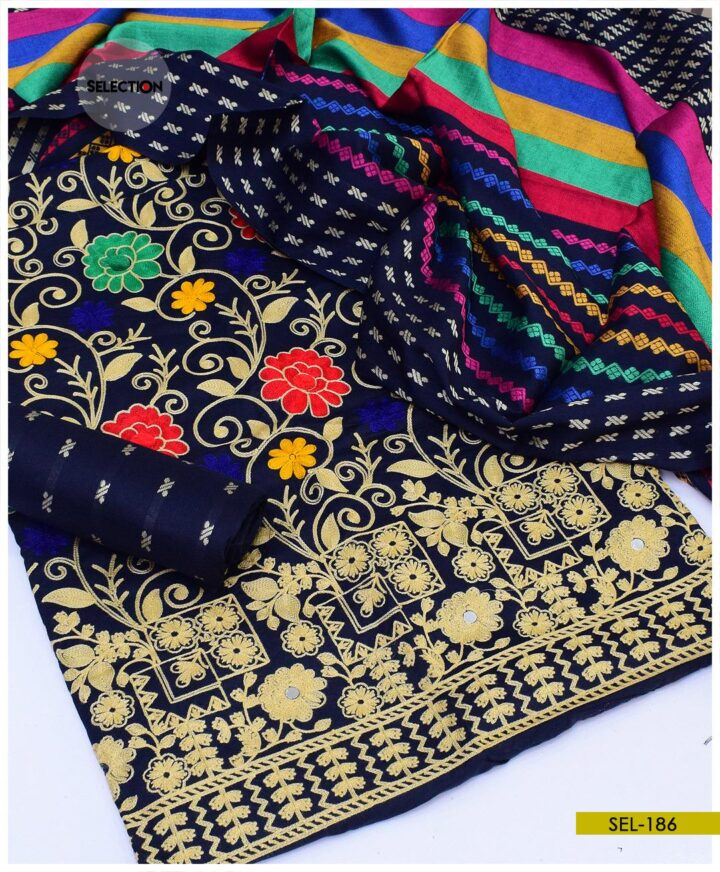 3 PCs Staple Marina Aari Embroidered Suits with Wool Shawl -SEL186