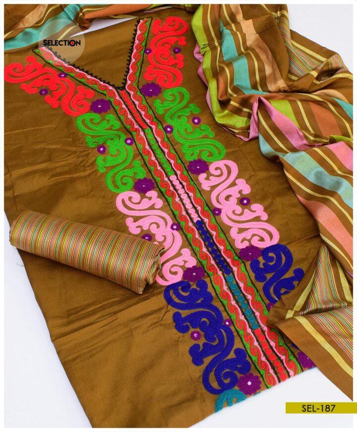 Staple Marina Aari Embroidery Suit with Wool Shawl -SEL187