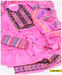 3 PCs Staple Linen Machine Embroidered Suit With Wool Shawl -SEL188