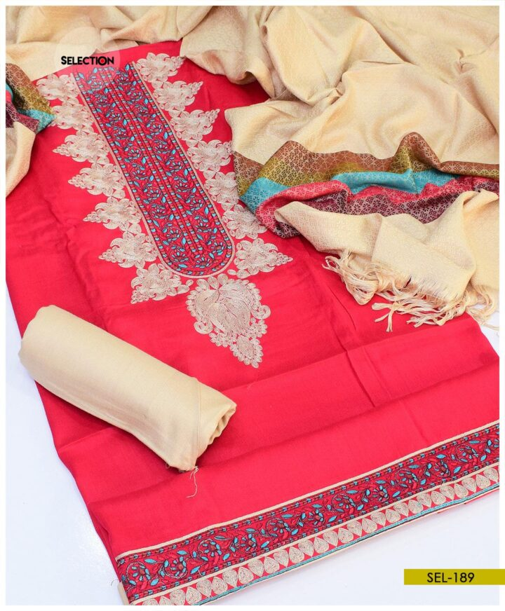 Staple Linen 3 PC Machine Embroidered Suit with Wool Shawl -SEL189