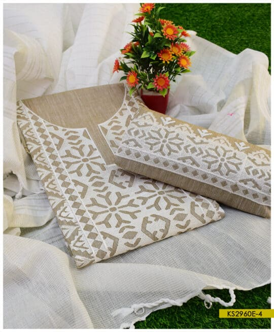 3 PCs Khadi Cotton Computer Applique Suits With Jackuard Khadi Dupatta – KS2960E