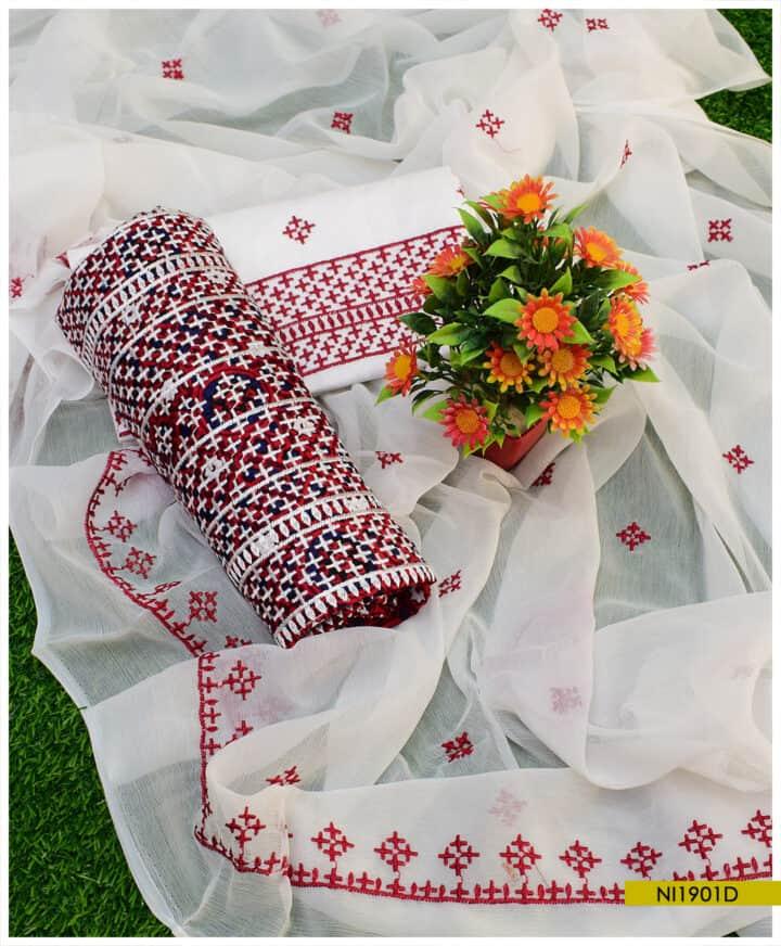 3 PCs Ajrak Lawn Traditional Embroidered Un-Stitched Dress with Chiffon Dupatta - NI1901D