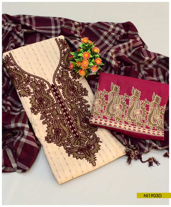 3 PCs Fancy Lawn Embroidered Un-Stitched Suits With Check Dupatta