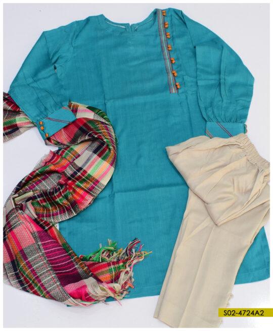3 PCs Stitched Sussi Silk Suit