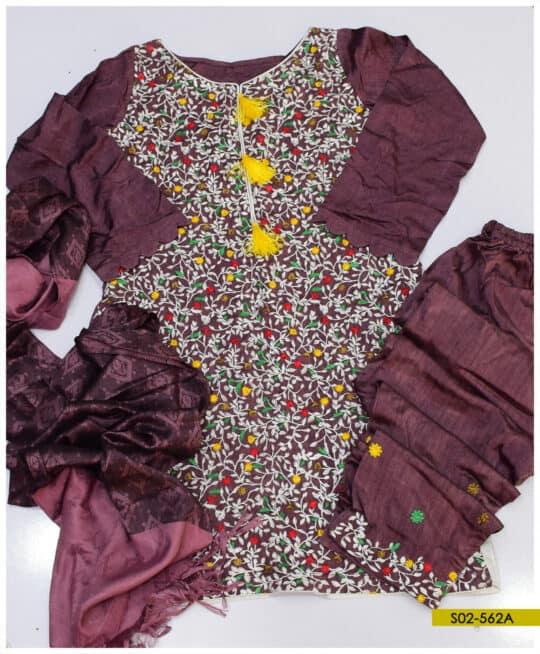 3 PCs Stitched Machine Embroidered Light Weight Marina Suit