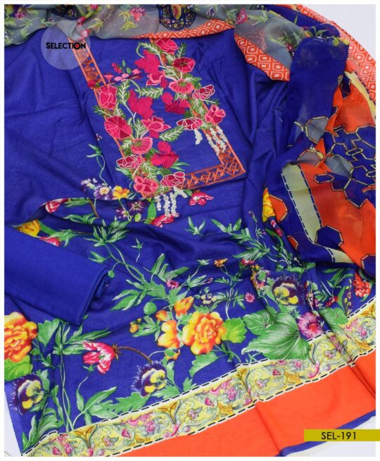 3 PCs Linen Un-Stitched Neck Embroidered Suit with Chiffon Dupatta -SEL191