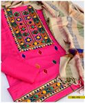 Light Weight Marina 3 PCs Machine Embroidered Un-Stitched suit with Wool Shawl -SEL192