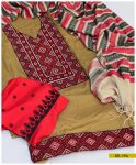 Machine Embroidered 3 PCs Computer Embroidered Light Weight Marina Suit with Wool Shawl -SEL194