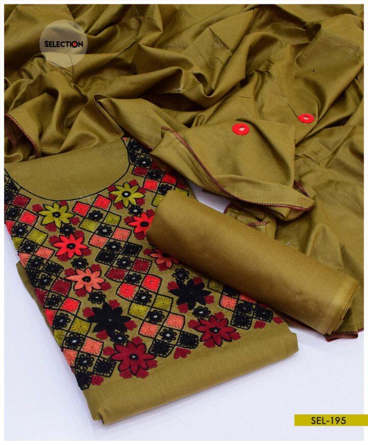 3 PCs Machine Embroidered Un-Stitched Linen Suit -SEL195