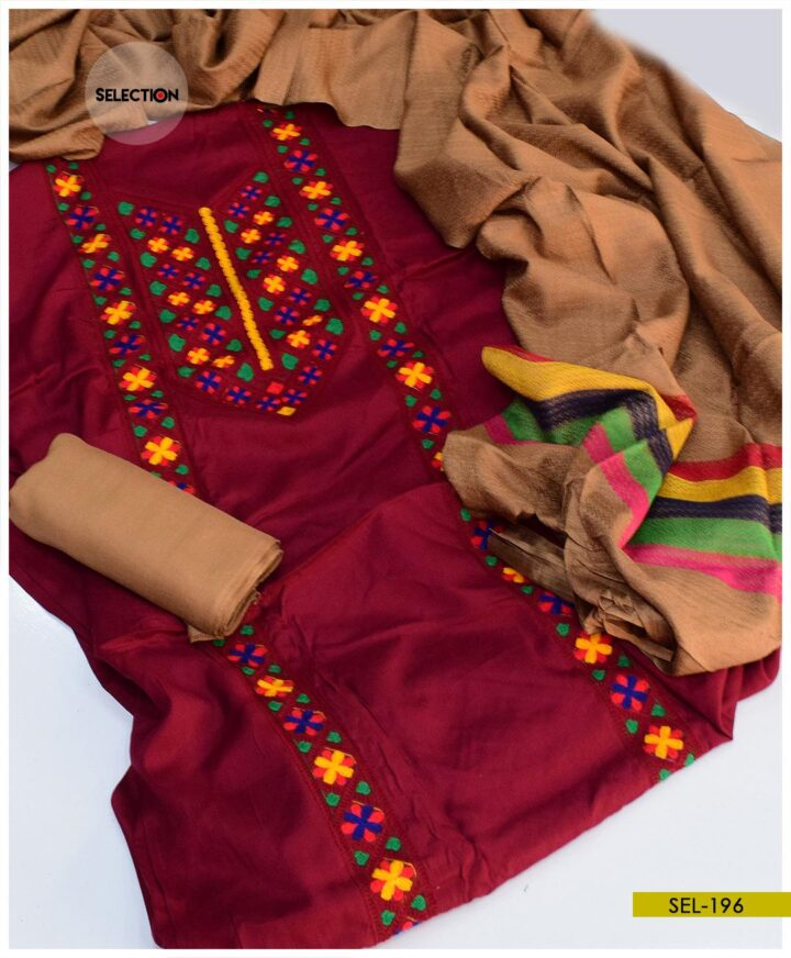 Light Weight Marina 3 PCs Machine Embroidered Suit -SEL196A