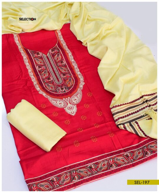 3 PCs Machine Embroidered Un-Stitched Light Weight Marina Suit -SEL197