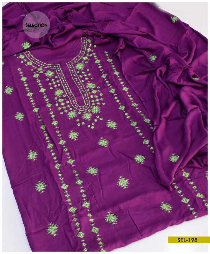 Linen 3 PCs Hand Embroidered Banarsi Work Suit -SEL198