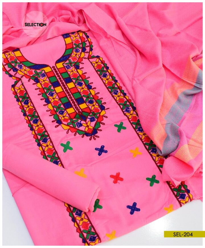 Staple Marina 3 PCs Machine Embroidered Winter Un-Stitched Suit with Wool Shawl -SEL204