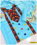 Staple Linen 3 PCs Machine Embroidered Un-Stitched Suit with Wool Shawl -SEL207
