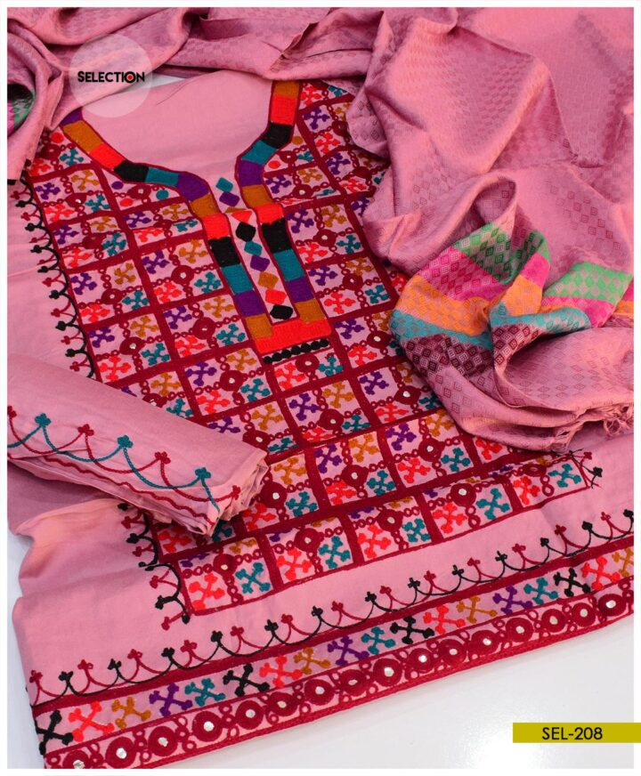 3 PCs Sindhi Embroidery Light Weight Marina Suit with Wool Shawl -SEL208