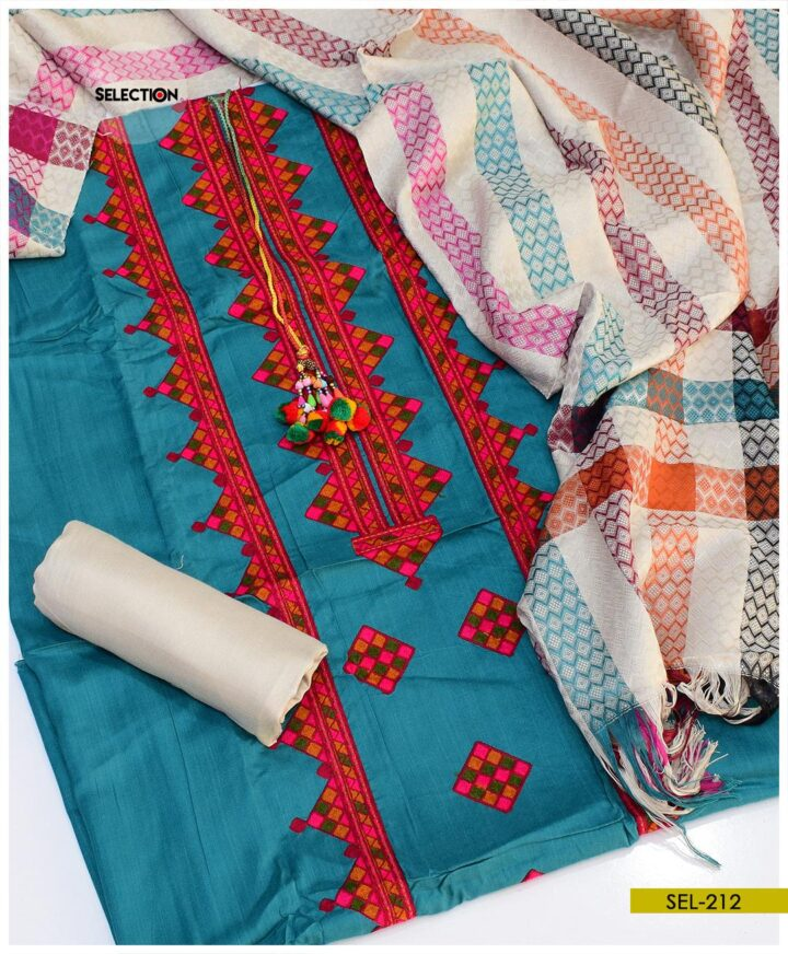 3 PCs Aari Embroidery Un-Stitched Light Weight Marina Suit with Wool Shawl -SEL212