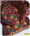 Embroidered Linen 3 PCs Un-Stitched Suit with Chiffon Dupatta -SEL219
