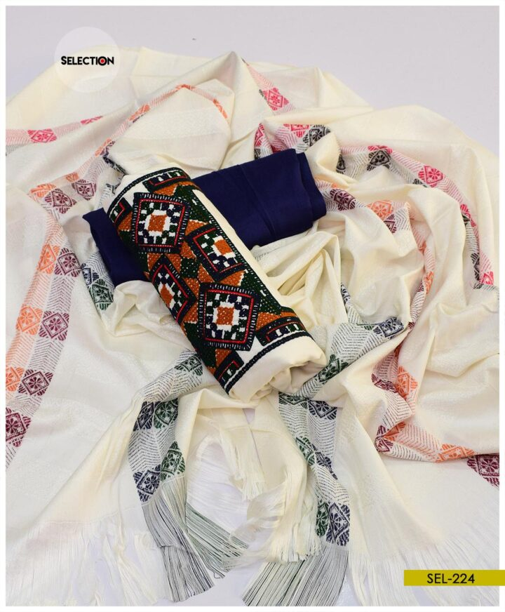Light Weight Marina 3 PCs Un-Stitched Embroidered Suit -SEL224