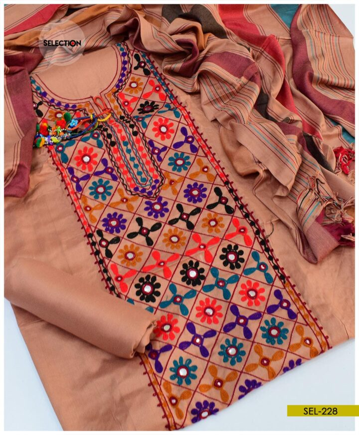 Light Weight Aari Embroidery Unstitched Suit with Wool Shawl -SEl228