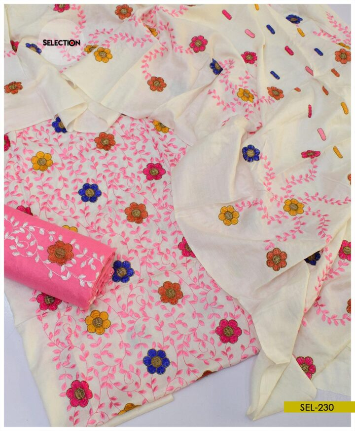3 PCs Staple Marina Machine Embroidered Bareeze Style Un-Stitched Suit -SEl230