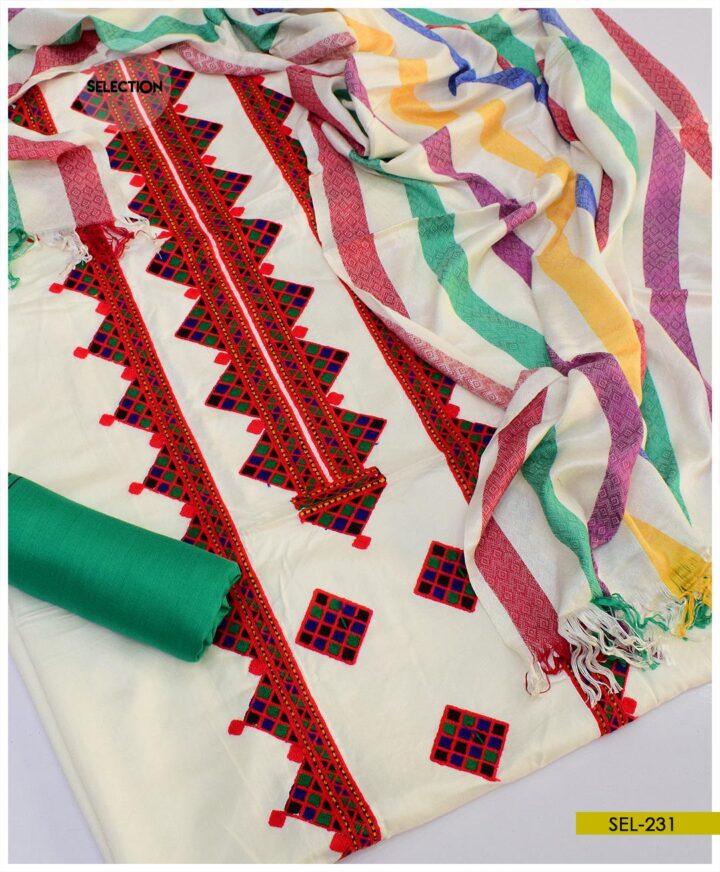3 PCs Unstitched Aari Embroidery Staple Marina Winter Suit -SEL231