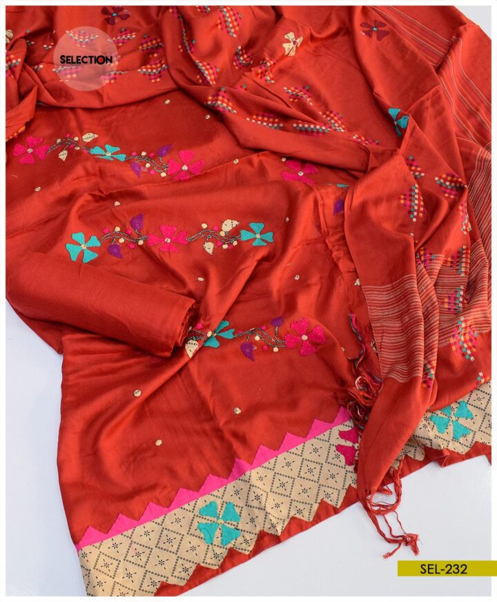 3 PCs Hand Embroidered Staple Linen Applique Work Winter Un-STitched Dress -SEL232