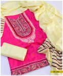 3 PCs Machine Embroidered Light Weight Marina Suit with Wool Shawl -SEL234
