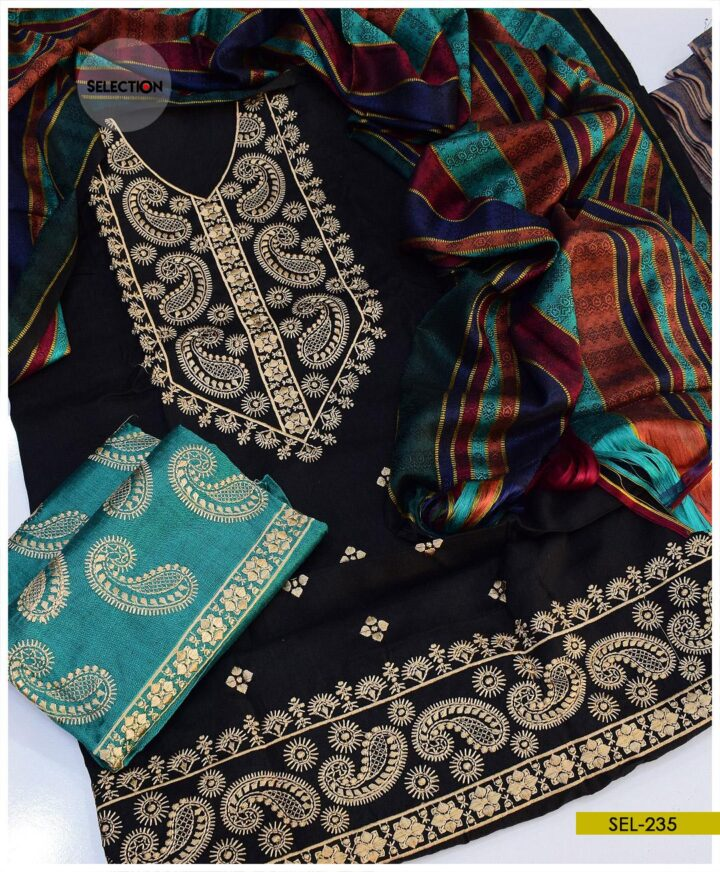 3 PCs Machine Embroidered Light Weight Marina Suit -SEL235