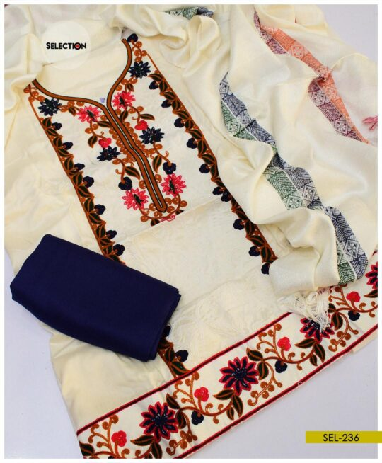 3 PC Light Weight Marina Aari Embroidery Suit with Wool Shawl -SEL236