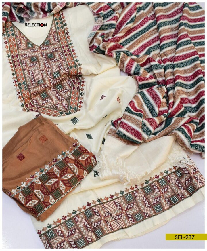 Light Weight Marina Embroidered Winter Unstitched Suit -SEL237