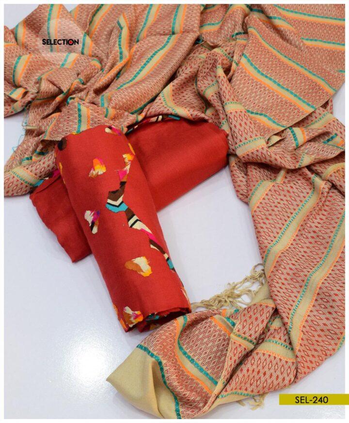 3 PCs Unstitched Handmade Applique Work Suit -SEL240