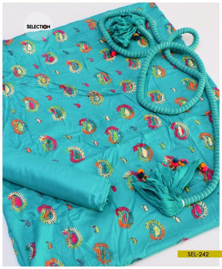 3 PCS Linen Un-stitched Machine Embroidered Suit -SEL242