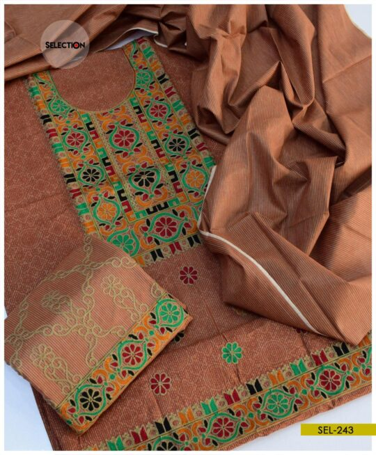 3 Pcs khadi Cotton Un-Stitched Machine Embroidered Suit -SEL243