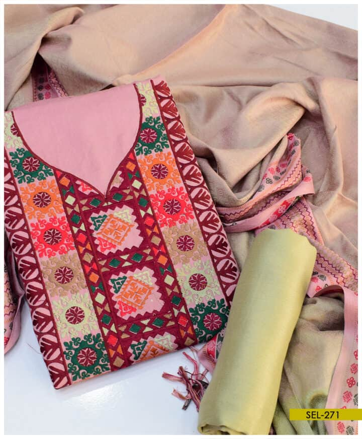 Light Weight Marina 3 PCs Machine Embroidered Un-Stitched Suit - SEL271