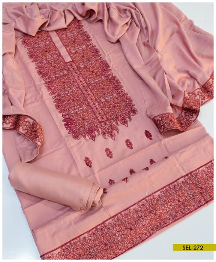 Light Weight Marina Machine Embroidered 3 PC Unstitched Suit - SEL272