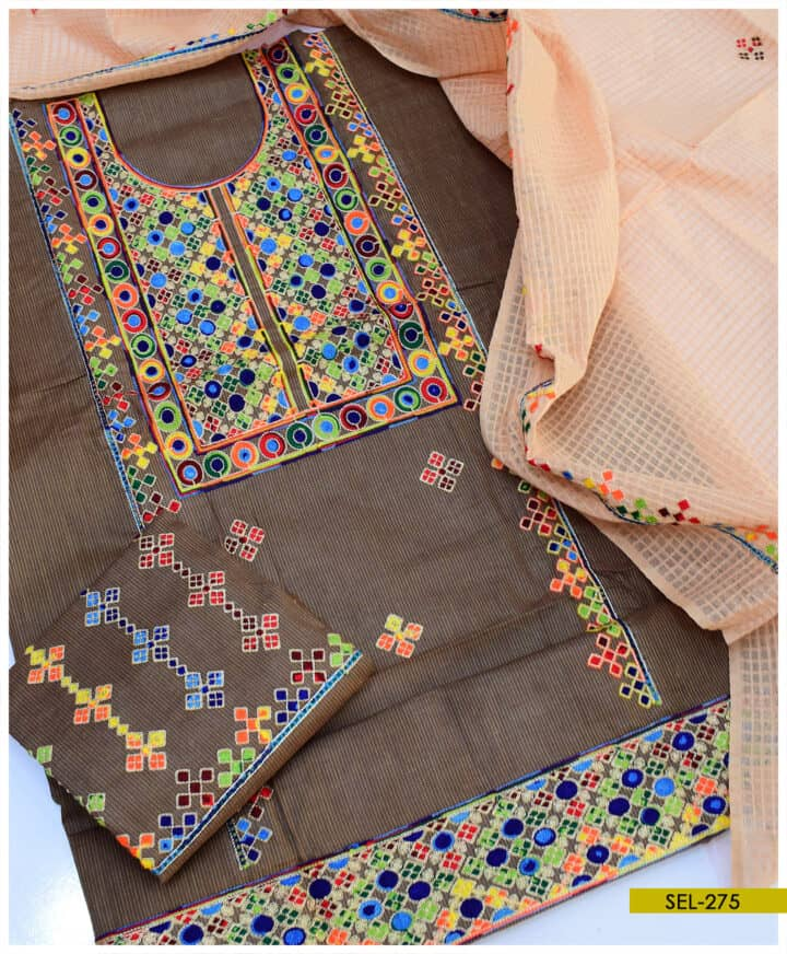 Khadi Cotton Machine Embroidered 3 PC Un-Stitched Suit - SEL275