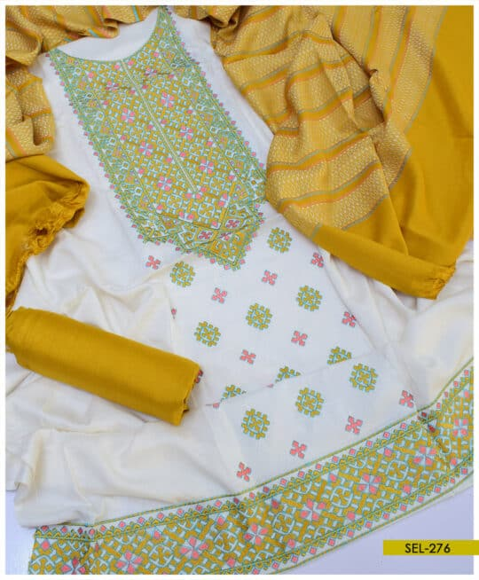 3 PC Light Weight Marina Unstitched Embroidered Suit - SEL276B