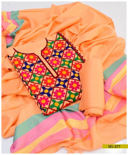 Light Weight Marina 3 PCs Jaal Embroidery Suit With Wool Shawl – SEL277