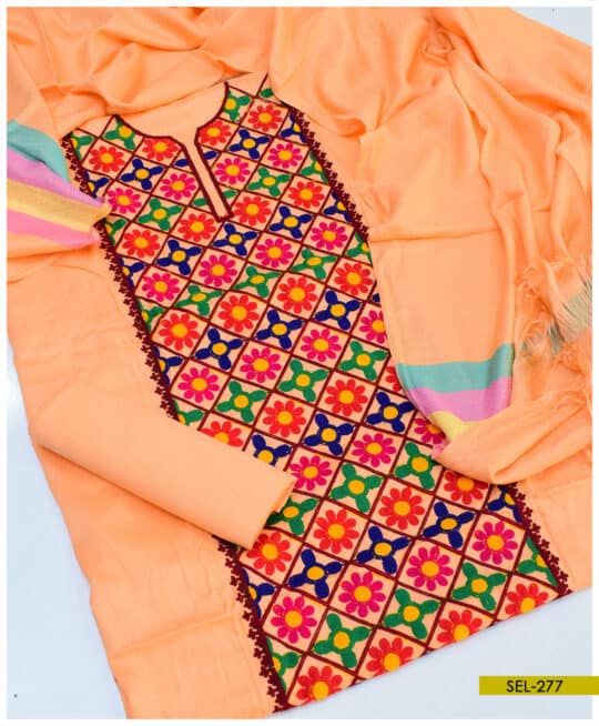 Light Weight Marina 3 PCs Jaal Embroidery Suit With Wool Shawl - SEL277B