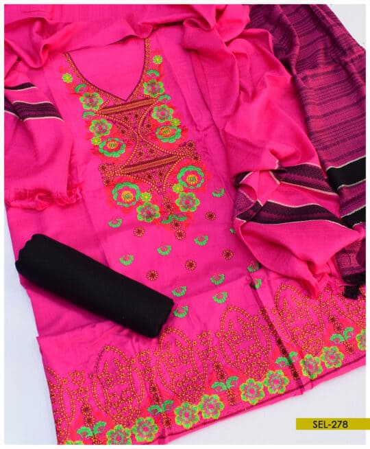 Light Weight Marina 3 PCs Embroidery Suit With Wool Shawl - SEL278B