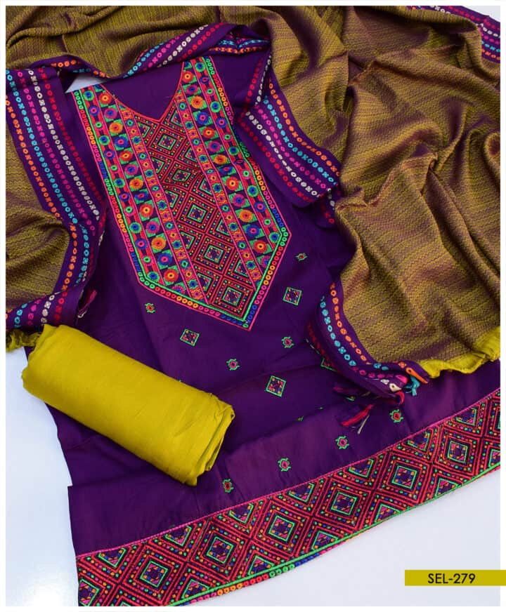 3 PC Light Weight Marina Unstitched Embroidered Suit - SEL279B