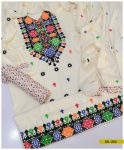 3 PCs Staple Linen Machine Embroidered Suit - SEL283A