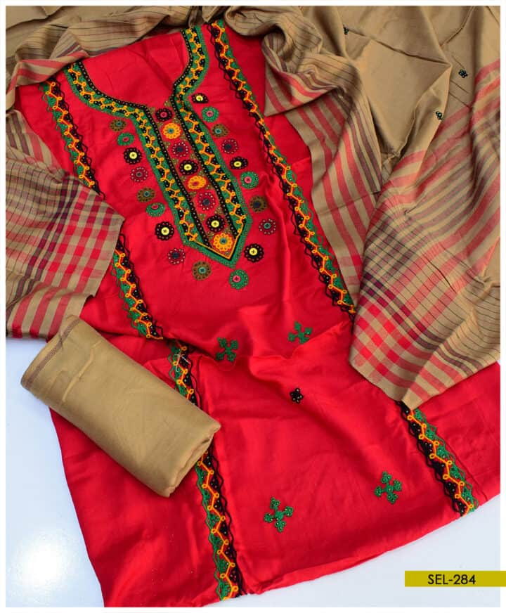 Light Weight Marina 3 PCs Embroidered Suit - SEL284